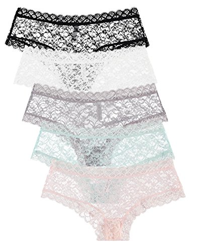5 Pack Free to Live Womens Trimed Lace Boy Short Panties 0