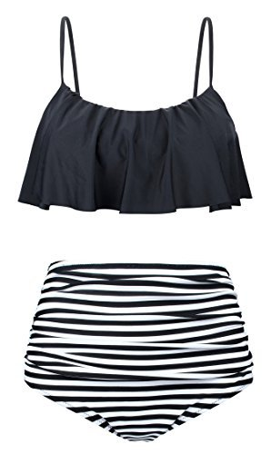 Angerella Womens High Waisted Bikini Flounce Top Bathing Suits Swimwear 0