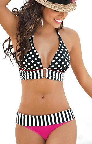 Niveltm Sexy Boho 2pcs Bikini Set Polka Dots Striped Halterneck Swimwear 0