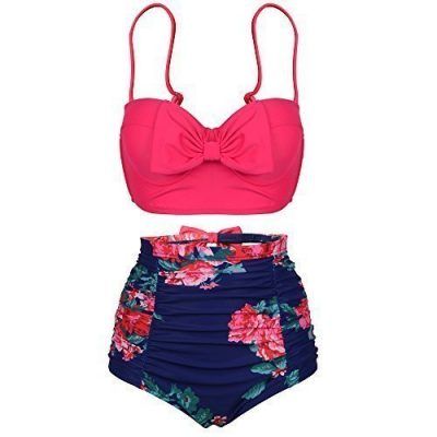 PZZ Womens Push Up Cute Bowknot Bikini High Waist Retro Flower Printing Bottom Two Pieces Swimwear Bathing Suits 0