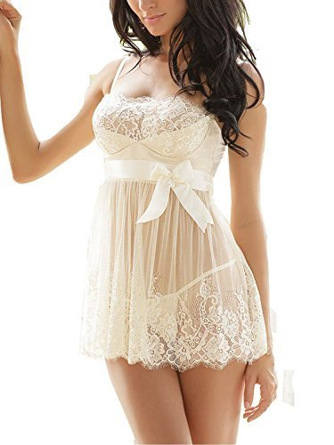 Ruzishun Womens Sexy Lingerie White Lace Nightwear Perspective Sleepwear Underwear 0