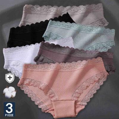 3PCS/Set Women's Cotton Panties Sexy Lace Lingerie 1