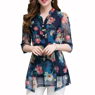 Women's Tops and Blouses Floral Blouse Print  1