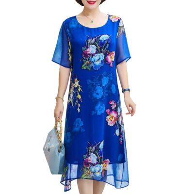 short sleeve o neck vintage print floral midi dress elegant  1
