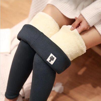 Women's Winter Velvet Warm Pants Hight Waist Leggings 1
