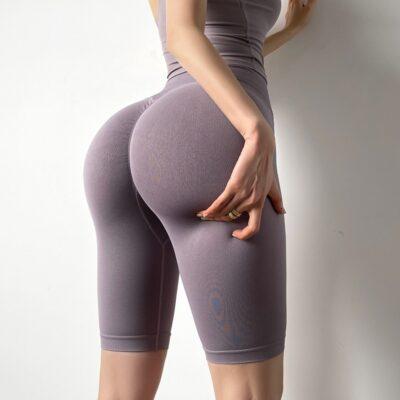Women Seamless Fifth Pants High Waist Push Up Sport Yoga Leggings 1
