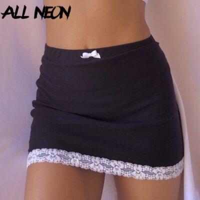 E-girl Sweet Bow Lace Trim Black Skirts 1